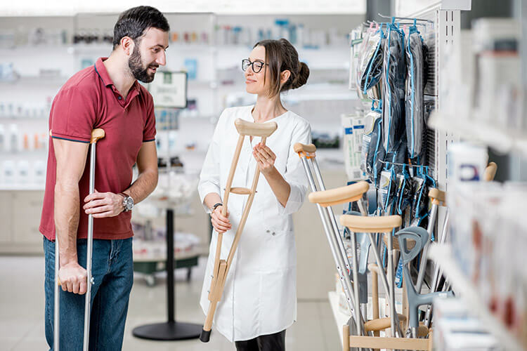 Man Purchasing New Crutch at Store
