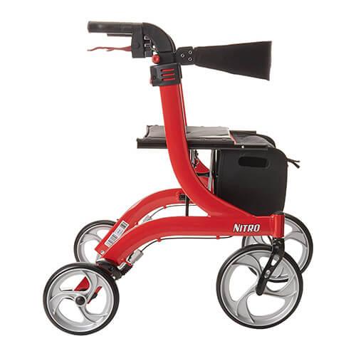 Drive Medical Nitro Euro Style Rollator Walker Red Side Profile