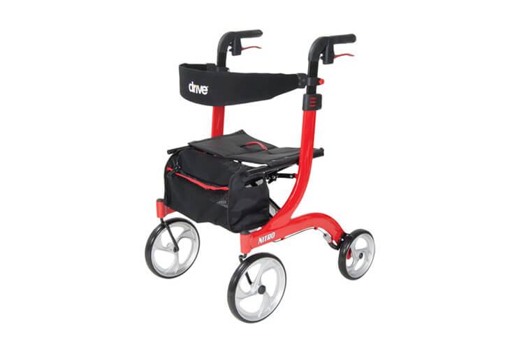 Drive Medical 18 Inch Wide Nitro Euro Style Rollator Walker Red