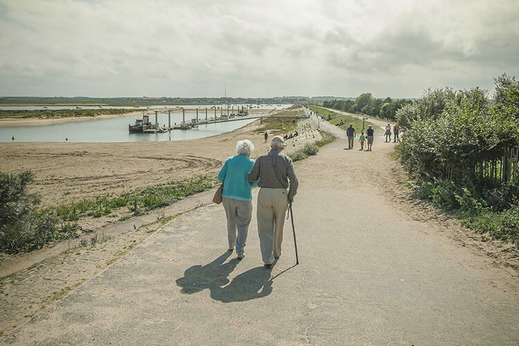Elderly Couple Walking with Cane