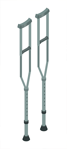 Pair of Crutches with adjustable height