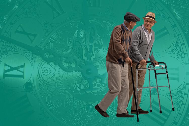 Elderly Men Using Walkers in Front of Clock