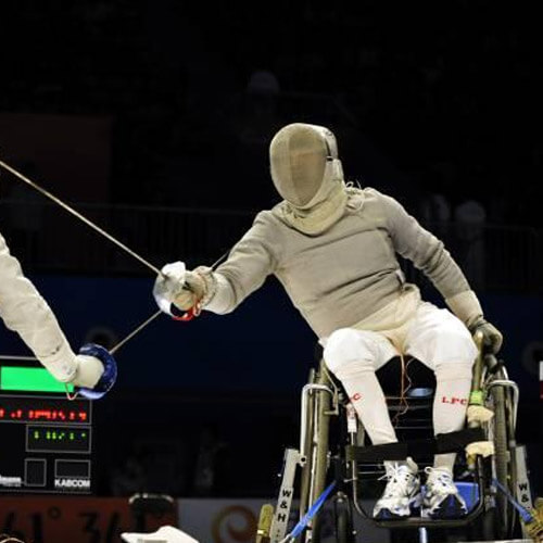 Two Men Wheelchair Fencing