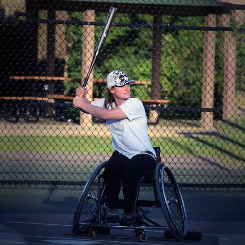 Woman Playing Wheelchair Softball