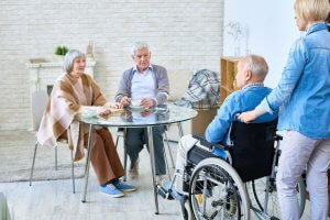 group of senior people in assisted living home