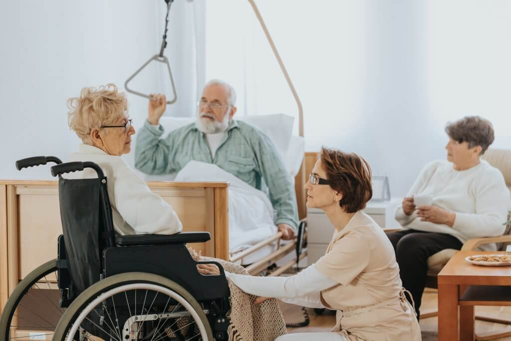 nurse, old man, woman with disabilities